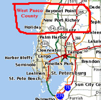 Map Of Pasco County Florida.West Pasco County Florida Real Estate